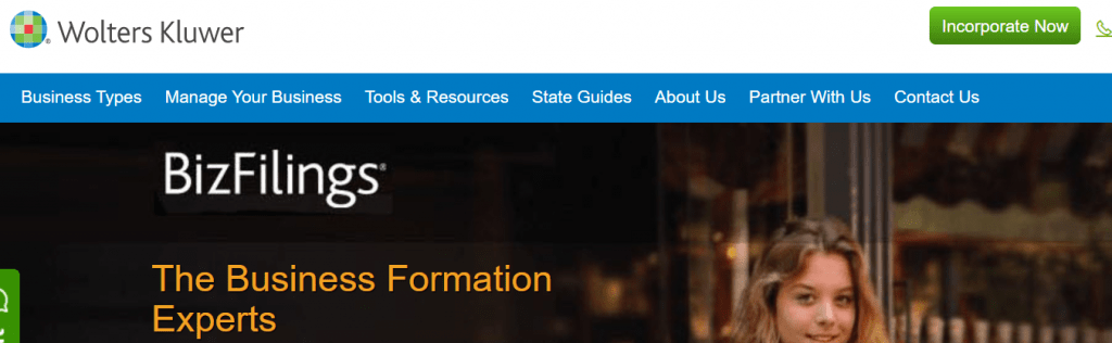 BizFilings LLC Formation Services Homepage