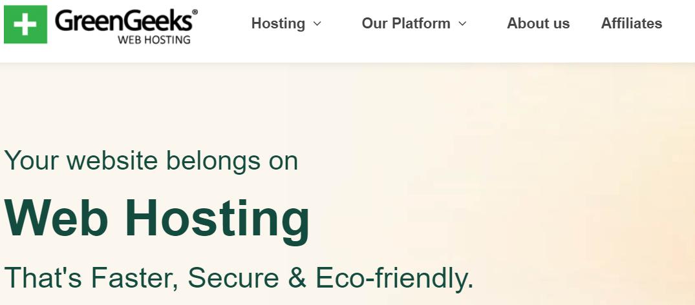 GreenGeeks Web Hosting Homepage